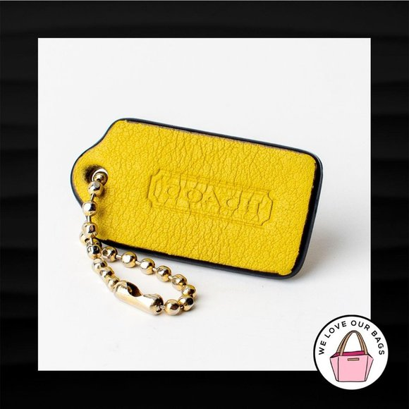 1.5″ Small COACH MUSTARD YELLOW LEATHER KEY FOB
